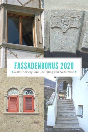 Fassadenbonus 2020 - Restaurierung Fenster-, Türeinfassungen und Zierelemente aus Natursteine